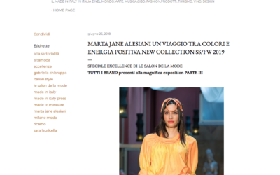 Made In Italy Press & News: Marta Jane Alesiani Un viaggio tra colori e energia positiva New Collection SS/FW 2019